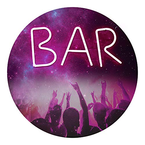LED Neon Letter Night Light, Light Up Bar Word Sign Gift, USB & Battery Operated Wall Decor for Bar, Pub, Home, Birthday Party-BAR (Pink Light) ()