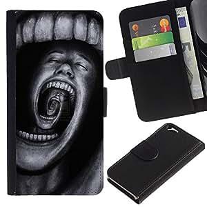 A-type (Teeth Horror Terror Black Spooky) Colorida Impresión Funda Cuero Monedero Caja Bolsa Cubierta Caja Piel Card Slots Para Apple (4.7 inches!!!) iPhone 6 / 6S