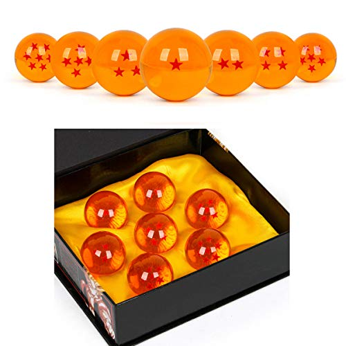 WeizhaonanCos Unisex Acrylic Resin Transparent Stars Balls Glass Ball Dragon Ball Cosplay Props Kids Play Toy Gift Set of 7pcs 43mm/1.7 in in Diameter (Orange) ()