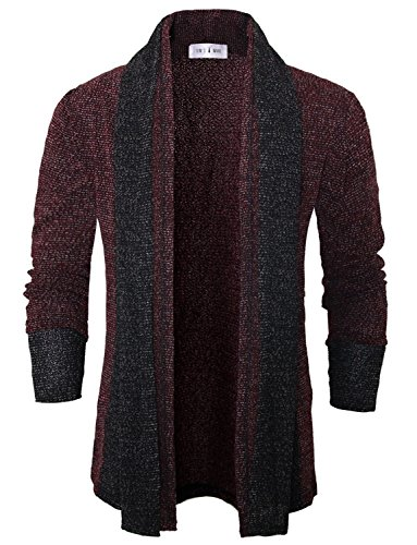 Tom's Ware Mens Classic Slim Fit Knit Open-Front Cardigan