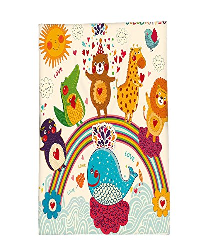 Interestlee Fleece Throw Blanket Birthday Decorations for Kids Hand Drawn Tropic Wild Animals and Whale on a Rainbow Image (Wild Rainbow Cat Child Costumes)