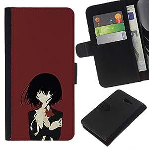 """A-type (Una Eyed Girl"""") Colorida Impresión Funda Cuero Monedero Caja Bolsa Cubierta Caja Piel Card Slots Para Sony Xperia M2"""