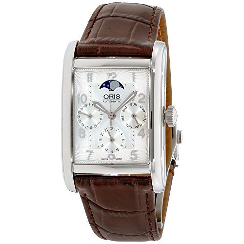 Oris Rectangular Complication Silver Dial Leather Mens Watch 582-7694-4061LS