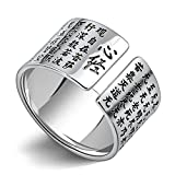 AmDxD Jewelry Sterling Silver Wedding Bands for Men Chinese Buddhist Scriptures Ring Size S 1/2 to Size X 1/2