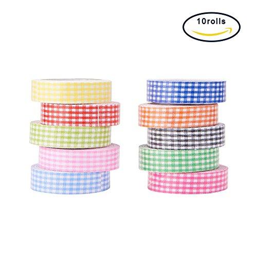 PandaHall 10 Rolls Single Face Grid Pattern Printed Cotton Ribbon Adhesive Tape 15mm Width Mixed Color (Adhesive Printed Ribbon)