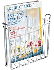 iDesign Classico Steel Wire Wall Mount Newspaper and Magazine Holder Rack for Bathroom Organization