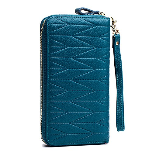 Sea Data Card - Genuine Leather 36 Card Slots RFID Wrist Clutch Wallets with Zipper Pocket (Sea blue)