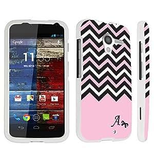 DuroCase ? Motorola Moto X (2013 Released, 1st Gen) Hard Case White - (Black Pink White Chevron A)