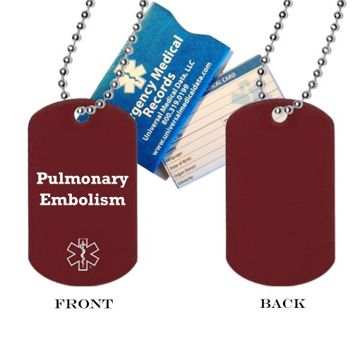 Pulmonary Embolism Medical Alert ID Dog Tag Pendant in Anodized Aluminum