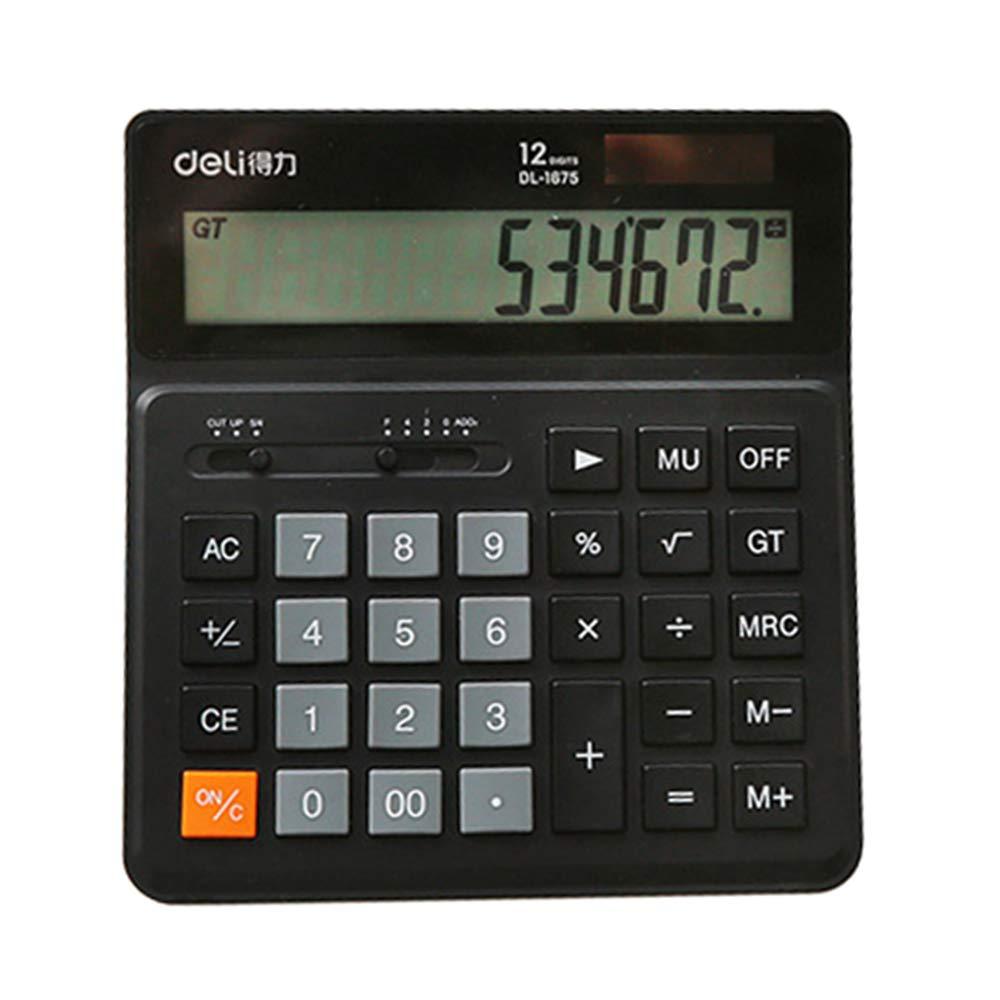 Desktop Calculator, Abs Big Button Office Calculator, 12-Digit Display Big Screen Solar Dual Power Calculator ZDDAB