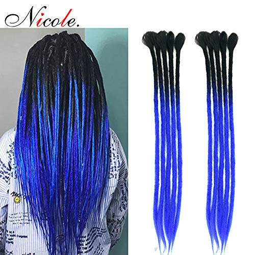 NICOLE 10 Stands 20 Inches Handmade Dreadlocks Extensions Crochet Hair Hip-Hop Style Faux Locs For Man/Woman Braiding ()