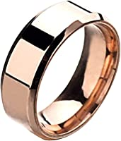 Wintefei Fashion Simple Unisex Lovers Stainless Steel Mirror Finger Rings Jewelry Gifts - Black US 12