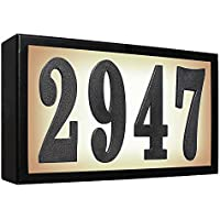 Qualarc SRST-AB60-BLK Serrano Low Voltage Rust Free Galvanized Steel Rectangular Lighted Address Plaque with 4 Polymer Numbers, Black by Qualarc
