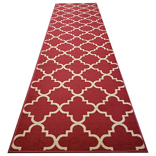 (Anti-Bacterial Rubber Back LONG RUGS RUNNERS Non-Skid/Slip 3x10 Runner Rug | Red Moroccan Trellis Indoor/Outdoor Thin Low Profile Modern Home Floor Kitchen Hallways Colorful Decorative)