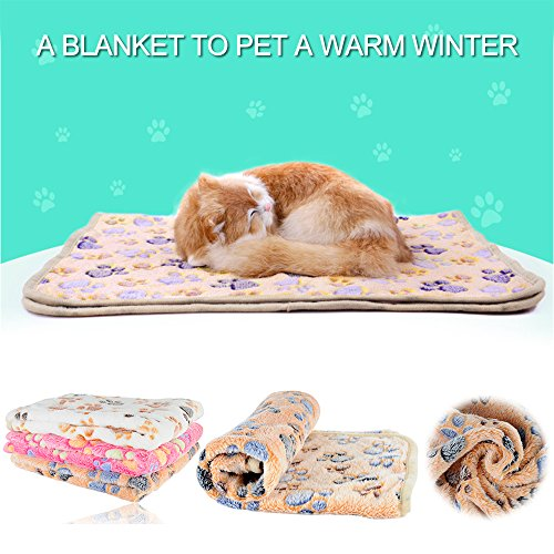 iNNEXT Puppy Blanket Pet Cushion Small Dog Cat Bed Soft Warm Sleep Mat, Pet Dog Cat Puppy Kitten Soft Blanket Doggy Warm Bed Mat Paw Print Cushion by iNNEXT