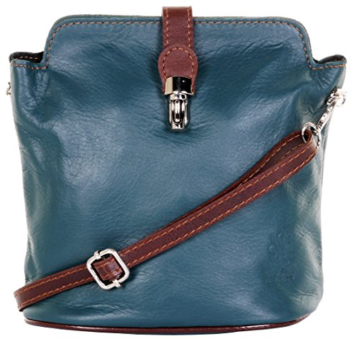 Primo Sacchi Italian Leather Hand Made Small Teal & Brown Cross Body or Shoulder Bag - Bag Leather Baguette