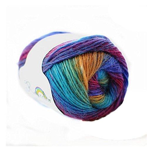 Celine lin One Skein 100% Wool Rainbow Series Hand knitting Yarn 50g,Multi-colored04 - Knitting Alpaca Wool