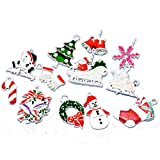 Housweety 50 Mixed Silver Plated Enamel Christmas Charms Pendants