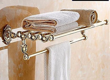 GBHNJ Toallas De Baño Baño Flores Talladas De Tubo De Acero Color Oro: Amazon.es: Hogar