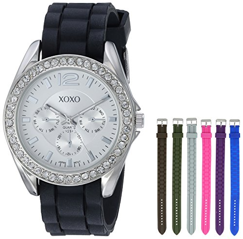 XOXO Women's XO9028 Watch Set with Seven Interchangeable Silicone Rubber Straps (Watches Xoxo Silicone Women)