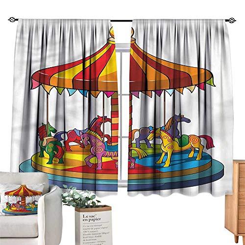 (Mannwarehouse Sliding Curtains Kids Cartoon Carousel Horses Design W72 xL45 Suitable for Bedroom,Living,Room,Study,etc.)