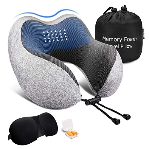 Keenstone Travel Pillow, Memory Foam Neck Pillow, Airplane Travel Kit with 3D Sleep Mask, Earplugs&Luxury Bag, Comfortable & Breathable Cover - Machine Washable