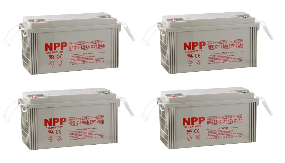 NPP NPG12-120Ah Rechargeable Gel Deep Cycle 12V 120Ah Battery Button Style Terminals (4 Pack) by NPP (Image #3)