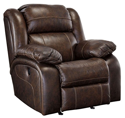 Ashley Branton U7190125 40' Rocker Recliner with Top-Grain Leather on Seating Area Thick Divided Back and Overstuffed Cushion in