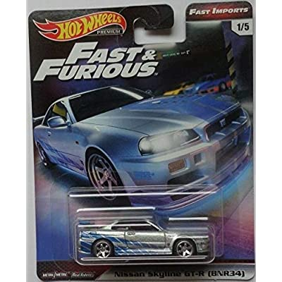 Hot Wheels Nissan Skyline GT-R (BNR34) #1/5 Premium 2020 Real Riders Fast & Furious Series 1:64 Scale Collectible Die Cast Model Car: Toys & Games
