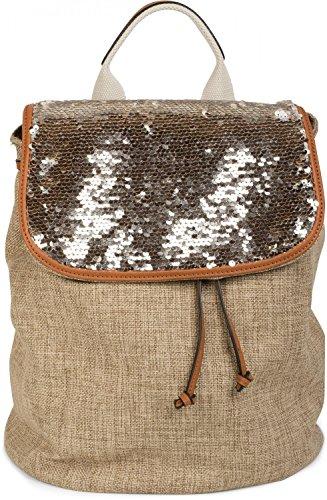 styleBREAKER mochila con solapa recubierta de lentejuelas, óptica de lino, bolso, de señora 02012155, color:Marrón Marrón