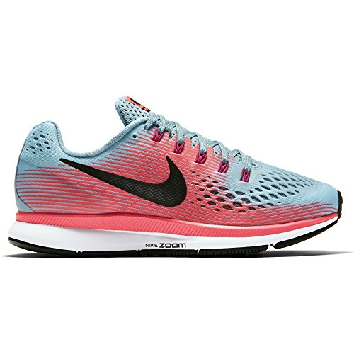 NIKE Women's Air Zoom Pegasus 34 Running Shoe Wide Mica Blue/White/Racer Pink/Sport Fuchsia Size 7 Wide US