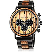 Mens Wooden Watch with Night Luminous Silver Needle 44MM Large Size Luxury Stylish Chronograph Sports Military Quartz Wood Wirst Watch Wood & Stainless Steel Combined Retro Classic Wood Watches