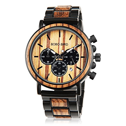 Mens Wooden Watch with Night Luminous Silver Needle 44MM Large Size Luxury Stylish Chronograph Sports Military Quartz Wood Wirst Watch Wood & Stainless Steel Combined Retro Classic Wood -