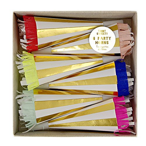 Toot Sweet Meri Meri Gold & White Striped Party Horns With Crepe Frill (6 -