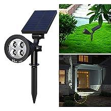 Solar Landscape Light ,Holan 4 LED IP65 Waterproof Solar Spotlight Solar light for Garden Backyard Lawn