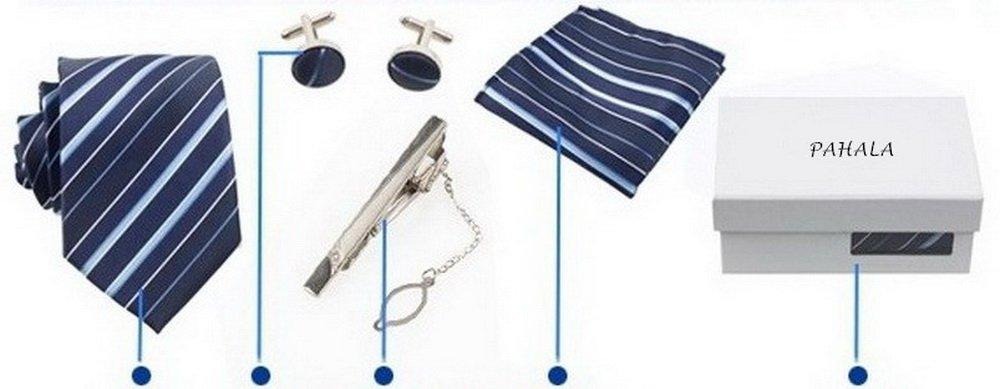 PAHALA Mens Fashion Necktie Cufflinks Tie Bar Pocket Square Set Box K71