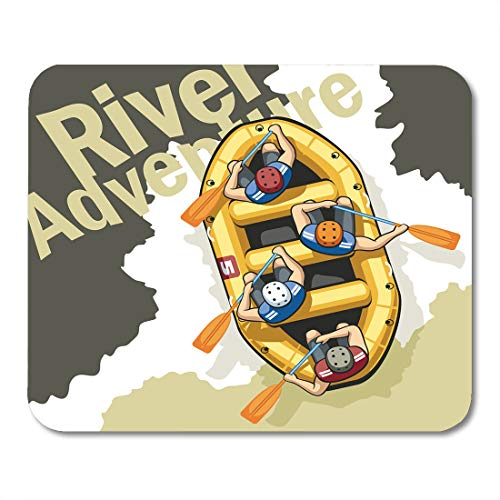 Emvency Mouse Pads Rough Mountain River in Yellow Inflatable Boat Rafting Sit Four Men Helmets and Life Jackets People Mouse Pad 9.5