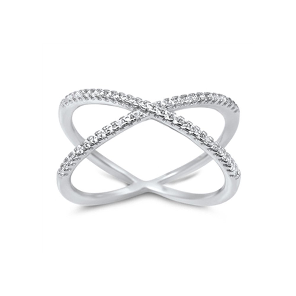 .925 Sterling Silver Crossover Pave Cubic Zirconia Wrap Style Ring - Size 9