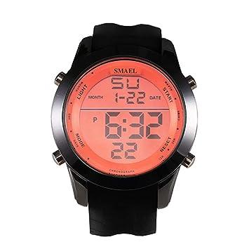 WULIFANG Relojes Deportivos Led Reloj Digital Reloj Reloj Digital Moda Masculina Moda Casual Naranja: Amazon.es: Deportes y aire libre