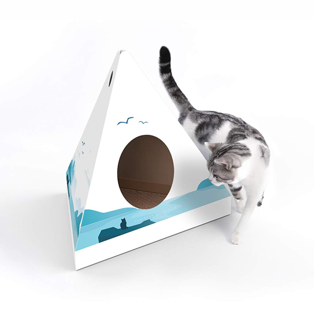 XMSG DIY Cat Nest Cat Scratch Board Corrugated Paper House Recyclable Cardboard Protect Your Furniture Cat Indoor Apartment Activity Center,B