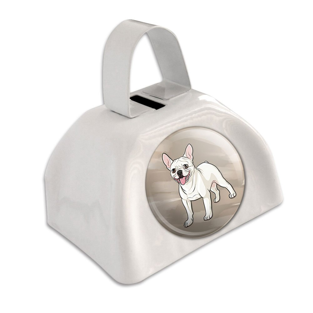 French Bulldog Pet Dog White Cowbell Cow Bell Graphics and More COWBELL.PB.07536
