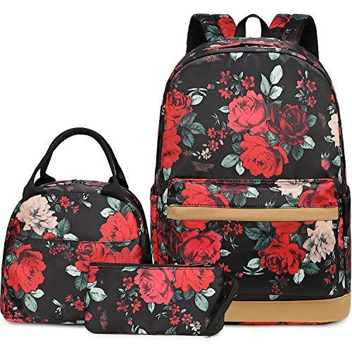 Girls Backpack for School Book Bag Set Women Ladies Laptop Backpack Casual Daypacks 3 in 1 (Black Floral-0040)