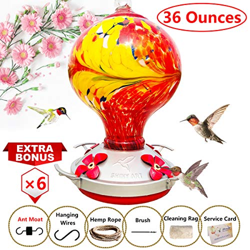 (ShinyArt Hummingbird Feeder - Hand Blown Glass - Red - 36 Fluid Ounces Nectar Capacity Include Ant Moat, Metal Hook, Hemp Rope, Brush, Cleaning Rag and Service Card)