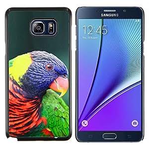 KLONGSHOP // Cubierta de piel con cierre a presión Shell trasero duro de goma Protección Caso - Loro colorido pájaro púrpura ornitología - Samsung Galaxy Note 5 5th N9200 //