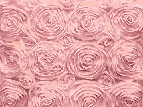 Zen Creative Designs Satin Rosette Floral Fabric 54 Inch Wide / Fancy Pattern Fabric / Floral Rose Fabric / Craft & Sewing Material (5 Yards, Pink)