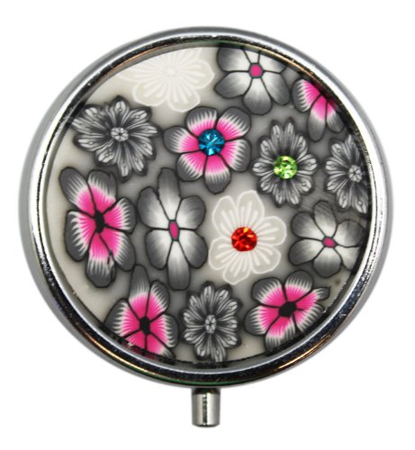 Small Round Silver Grey and Pink Flowers Pill Box with Mirror - Dark Floral Elegant Pill Box