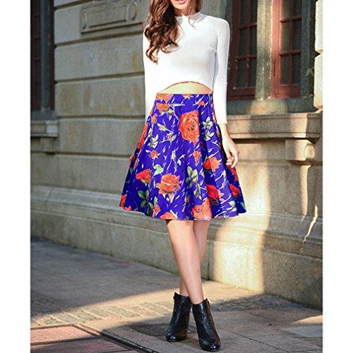 Honghu Verano Elegante Impresión Por la Rodilla Printing Faldas para Mujer Morado