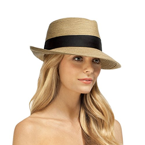 Eric Javits Luxury Designer Women's Headwear Hat - Squishee Classic - Natural/Black
