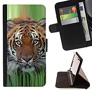 BullDog Case - FOR/Samsung Galaxy S6 EDGE / - / tiger grass spring animal nature hunting /- Monedero de cuero de la PU Llevar cubierta de la caja con el ID Credit Card Slots Flip funda de cuer