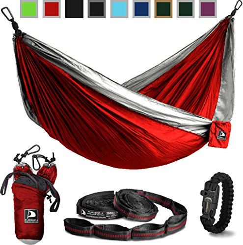 Flagship-X Double Camping Hammock with Tree Straps and Survival Bracelet fire Starter. for Backpacking, 2 Person Travel Hammock. (Red & Grey)